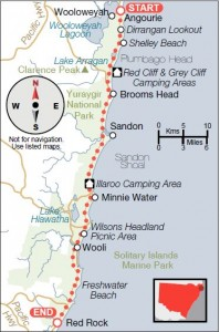 Yuraygir Coastal Walk route map as published in Wild Magazine