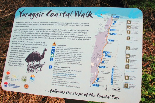 Yuraygir Coastal Walk sign and map, Yuraygir National Park, Northern NSW
