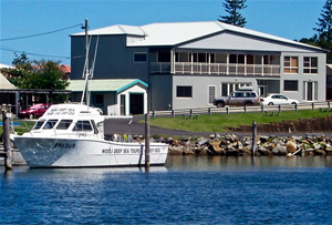 Wooli Fishing Charter boat and the Wooli Bait and Tackle store and accommodation