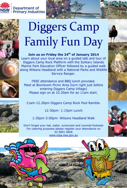 Poster for the Diggers Camp Family Fun Day at Yuraygir National Park and Solitary Islands Marine Park on Friday 24 January 2014