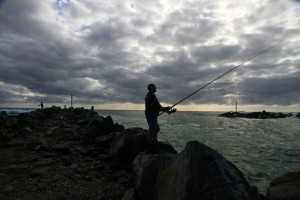 Night fishing at the Wooli River entrance breakwall