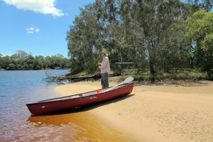 Canoe to a remote fishing spot in the Wooli River