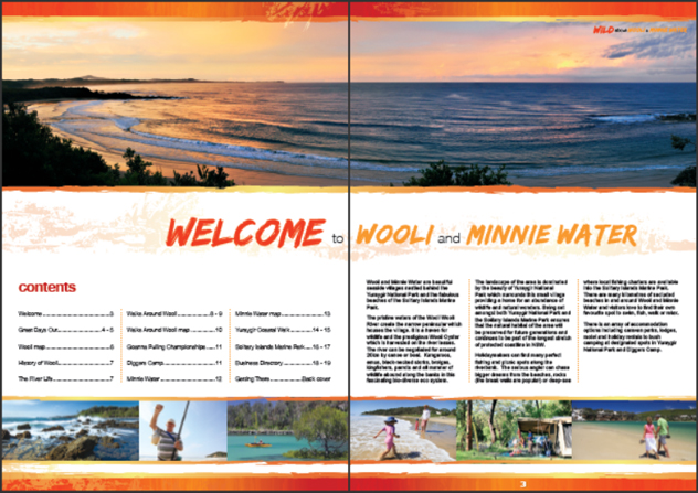Wooli and Minnie Water tourism brochure content and welcome pages